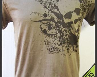 Distressed Skull design V-Neck Burnout Tee Shirt