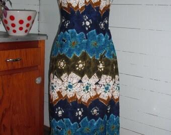 Vintage 1970s  dress, floor length, A line,  floral, sleeveless