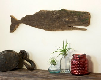 WHALE Moby Dick Barn Wood Sperm Whale Cut Out Silhouette Wall Art Decor House Warming