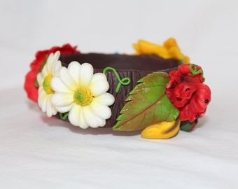 Flower Bracelet – Ukraine polymer clay flowers