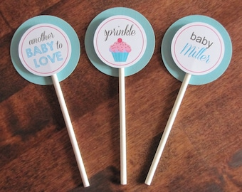 Baby Sprinkle Cupcake Toppers - Set of 12 - Baby Shower Decor