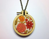 "Embroidery Hoop Pendant Necklace - Tiny embroidery hoop with floral apron fabric - Mini 2"" wooden hoop with antique brass chain"