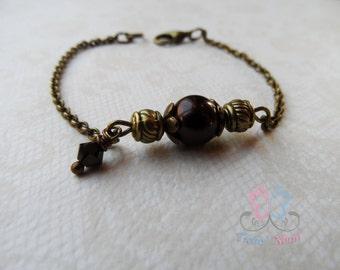 swarovski pearls bracelet, brown beads bracelet, chocolate beads bracelet, retro style bracelet