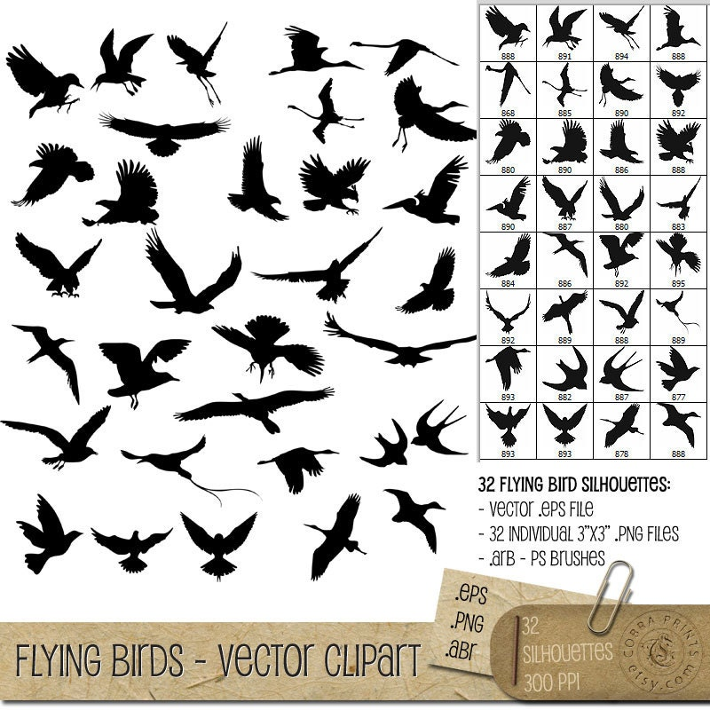 Flying Bird Vector Png Flying Bird Silhouettes Eps Png Abr Digital Vector Clip
