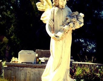 Fine Art Photo Digital Download - Cemetery Angel - Carved White Marble Statue, Broken Wing, Tomas Acea Cemeterio, Cienfuegos Cuba