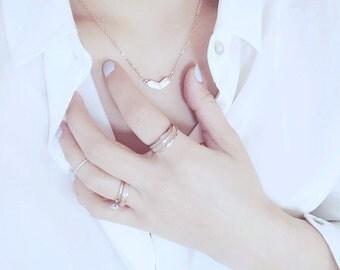 Heart Charm Necklace Love Necklace Letter Necklace 18K Necklace Rose Gold Necklace Pendant Necklace Simple Necklace