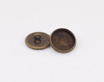 6x Antique Bronze Button Setting Blanks Fits 14mm Cabochon