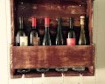 Wall mounted wooden Wine Rack 6-bottle/4-glass