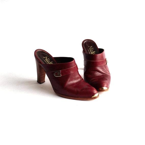 size 6 b vintage high heel clogs vintage mules gold toe