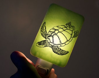 Turtle Nightlight on Mint Green Fused Glass Night Light - Gift for Baby Shower or Nature Lover - Nautical Sea Turtle on pastel colors