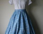 Vintage 1950s Blue Rayon Full Skirt