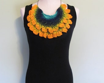 one of a kind hand dyed upcycled doily cowl / Antimacassar Scarflette / wearable fiber art / soft textile jewelry / golden yellow turquoise