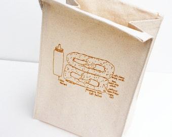 Soft Pretzel - recycled cotton lunch bag - ecofriendly reusable lunchbag - Philly soft pretzel - city pretzel lunch sack - gifts for men