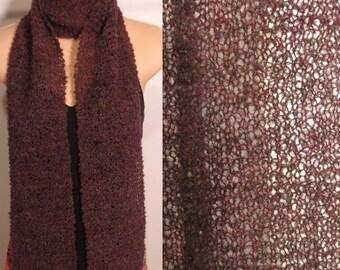 Hand Knit Scarf Lace Alpaca Wool Boucle Burgundy