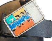 Belt Buckle Vintage Metal Mosaic  Recycled License Plate Typography Numbers Mustard Orange Blue For Men or Women Modern Art Mens Fashion