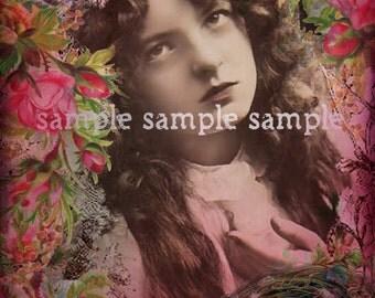SALE no1019 INSTANT digital download - digital collage sheet - ANGEL - journaling page - background paper - floral download