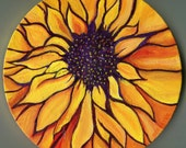 Sunflower painting 8 inch round canvas, Original yellow, orange sunflower original art, acrylic painting canvas art, sunflower decor