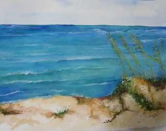 Santa Rosa Beach, FL  Watercolors paintings original Seascape painting, original ocean art, beach watercolor, beach decor, SharonFosterArt
