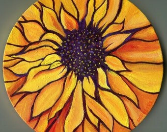 Sunflower canvas, Original yellow, orange sunflower original art, acrylic painting canvas art, sunflower decor, sunflower wall art