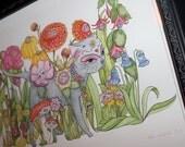 """Framed Original Watercolour cat - """"Day of the Dead in Wonderland"""" - vintage look frame black art illustration"""