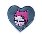 Cat Patch - pink cat embroidery cats diy sew on Miss Ella 3 inch crazy cat lady stocking stuffer filler