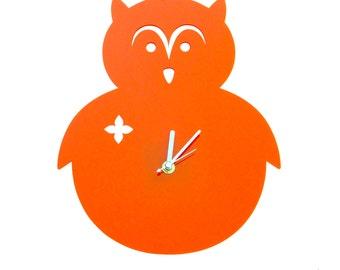 Orange Owl Wall Hanging Clock