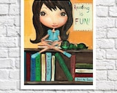 Bookworm Art Print Children Library Wall Decor Classroom Poster Kid Reading Art Little Girl Room Booklover Picture Teacher Gift Reading Nook