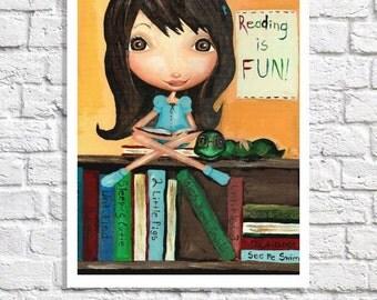 Bookworm Art Print Children Library Wall Decor Classroom Poster Kid Reading Art Little Girl Room Booklover Picture Teacher Gift Reading Nook