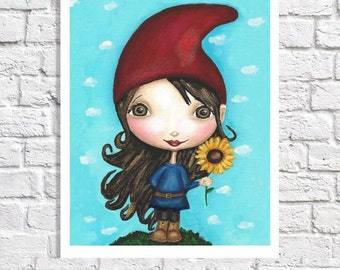 Gnome Art Cute Print Whimsical Artwork Garden Nursery Pictures Little Girls Bedroom Ideas Sunroom Decor Gnome Home Decor Children's Art Nome