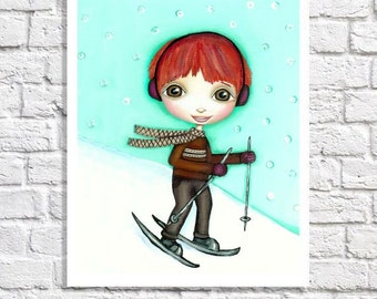 Skiing Art Baby Boy Sports Nursery Decor Winter Art Little Boy Pictures Toddler Boy Bedroom Wall Ideas Boy Prints Art For Boys Illustration