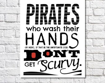 Wash Your Hands Print Pirate Art Pirate Theme Boys Art Childrenu0027s Pirate  Bathroom Wall Decor Kids
