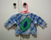 Size 3M GRATEFUL DEAD Baby Shirt ~ Long Sleeve ~ anTieDye ~ Bleach Dye ~ TieDye ~ One of a Kind ~ UpCycle ~ Ready to Ship!