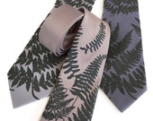 Fern leaf necktie. Screenprinted botanical print men's tie. Pale grey or black pearl screenprint. Choose standard or narrow microfiber tie.