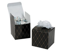 Great Gatsby Party Favor Boxes with Personalized Labels and Flower