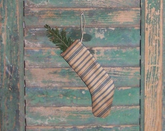 Small Stocking, Rustic Stocking, Christmas Stocking Ornament, Blue and White Vintage Ticking, Early Primitive, Early American Decor