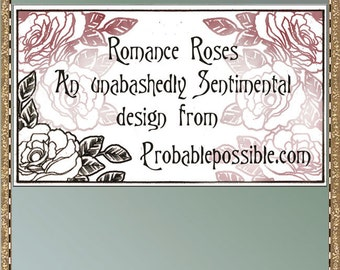 Sentimental romantic roses calling cards for you to print