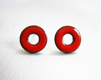 Lifesaver Loop Post Stud Earrings, Cherry Red Kiln-Fired Glass Enamel and Sterling Silver, 24 Custom Colors Available
