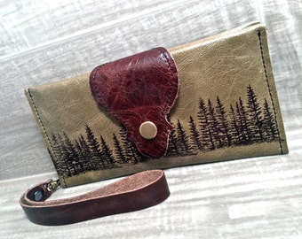 Leather Long Wallet, Phone Case Wrist Strap & Zipper Pocket Moss Green /Pine Tree Print,* SALE * Coupon Codes