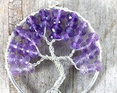 Amethyst Tree of Life Pendant Shaded Purple Ombre Faceted Gemstone Wire Wrap Jewelry February Birthstone Artisan Necklace Royal Purple RTS