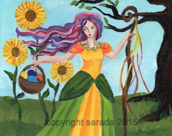 Easter spring witch art photo print 5 x 7 reproduction Ostara Eostre nature, eggs, sunflowers, pink purple hair gothic psychedelic woman