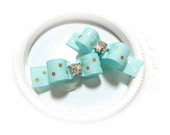 Puppy Dog Bow, Aqua Blue, Gold Dots Ribbon, Dog Bows