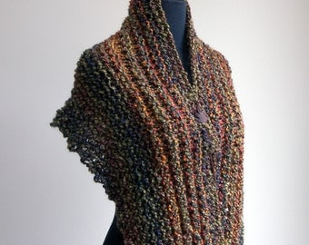 Hand Knit Shoulder Shawl Scarf Cowl Wrap, Stylish Comfort Prayer Meditation, Autumn Loden Rust Multicolor, Ready to Ship, FREE SHIPPING