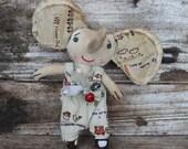 Primitive cloth doll, Ollie the elephant