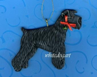 Handpainted Uncropped Black Schnauzer Christmas Ornament