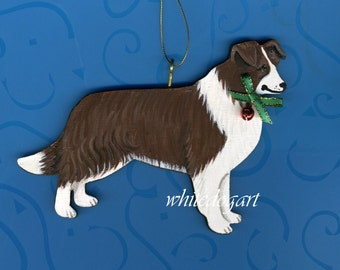 Red/Brown Border Collie Handpainted Christmas Ornament