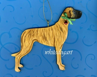 Custom Handpainted Uncropped Brindle Great Dane Christmas Ornament