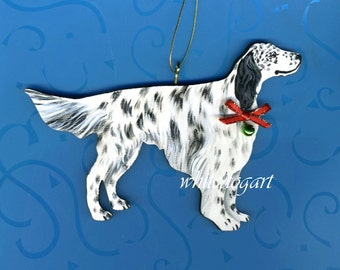Handpainted English Setter Christmas Ornament