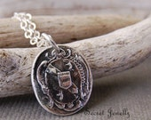 Wax Seal Necklace, Unicorn Necklace, Silver Wax Seal Jewelry, Sterling Silver Chain, Armorial wax seal