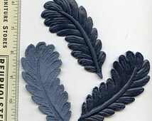 Leather Leaves BLUE (2) Feathers Die Cut and Embossed for Millinery, Hats, Jewelry, Assemblage  Five Bucks