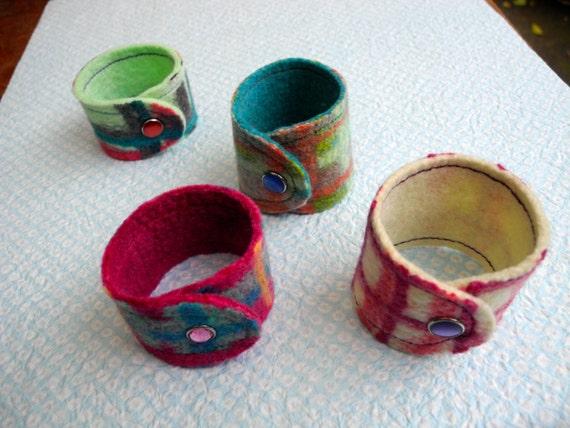 FOUR Plaid Felted Cuffs